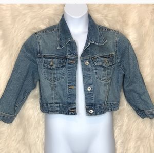 Maternity cropped jean jacket